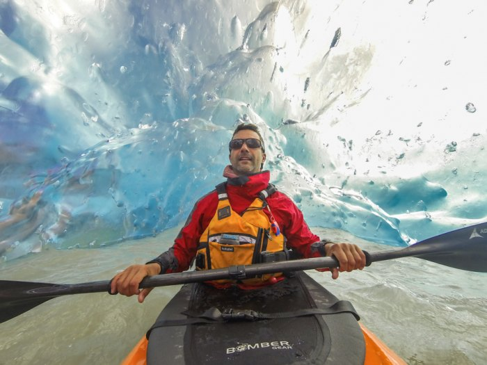 Self Portrait with a GoPro H3. In an ice cave under an iceberg on Mendenhall Glacier Lake, Alaska.