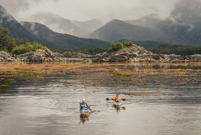 Paddlers Nathaniel Stephens and Debbie Hingst. Photo taken from higher ground during the a paddle from Sitka to Hoonah, around Chichagof Island
