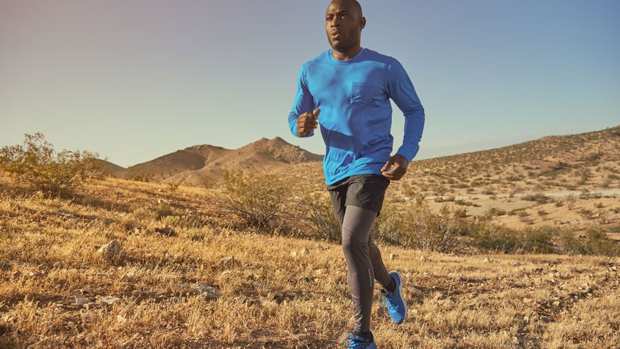 Trail running outdoors on hills