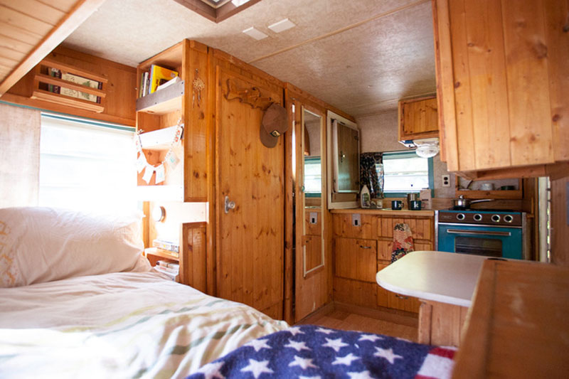Mary Hall's tow-behind Shasta trailer suffered water damage after a storm in Arizona; Photo courtesy of LucilleandFound.com