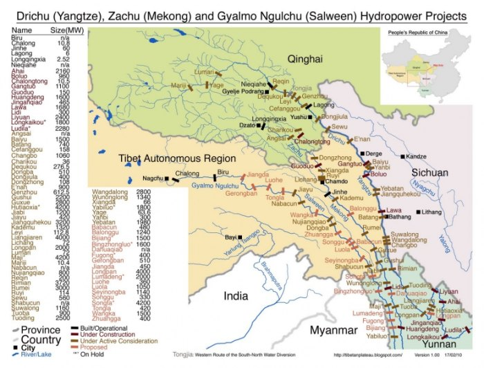 Map of proposed dams in western China. Courtesy International Rivers