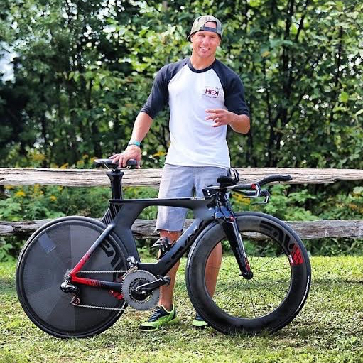 Mirra with his murdered out custom triathlon bike from Cervélo Cycles. Photo by Mark Losey, courtesy Dave Mirra.