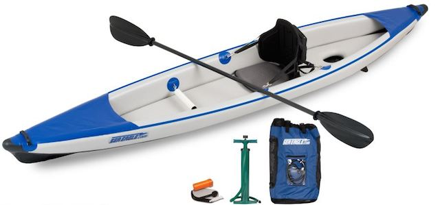 The RazorLite 393 comes with a paddle, pump, repair kit and carrying backpack.