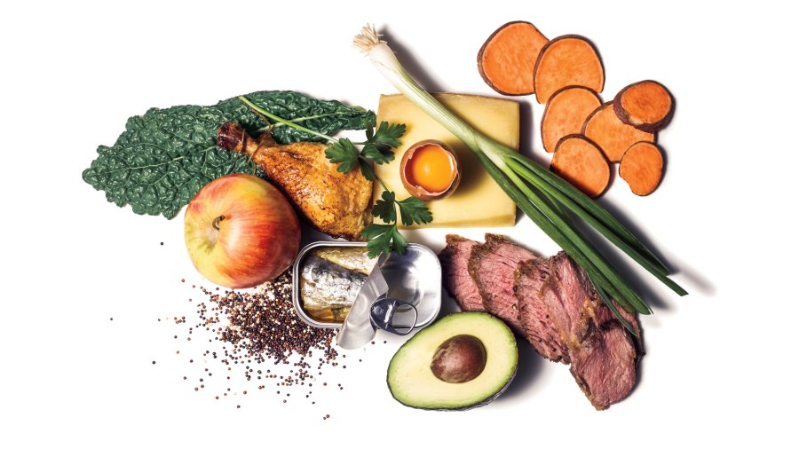 Essential grocery list: apples, kale, whole chicken, eggs, avocado, sweet potatoes, quinoa, tai-tip steak, canned sardines, Italian parsley, Gruyere cheese, and scallions