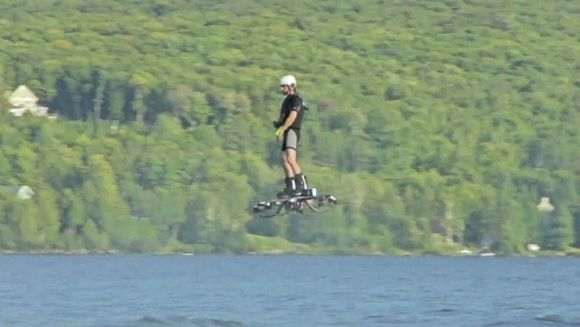 Canadian inventor set a Guinness World Record for farthest hoverboard flight. Photo: Guinness World Records