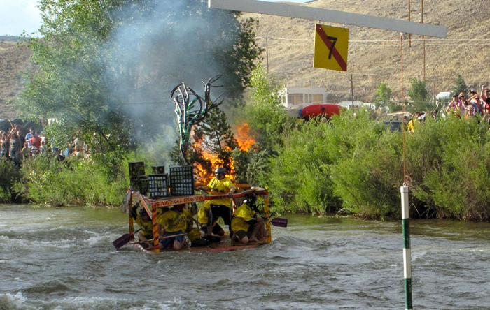 """The People's Choice award in the FIBArk Whitewater Festival's Hooligan race went to this crew, """"The Natural Disasters,"""" naturally. Photo: Tim Mutrie"""