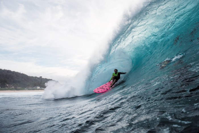 Jaime O'Brien pushes the limits of his Catch Surf soft top. Photo: Corey Wilson/Surfing Magazine