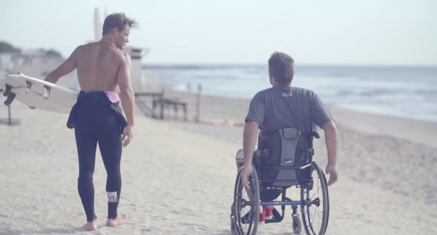 Martin Passeri (left) and Nicolás Gallegos before hitting the waves.