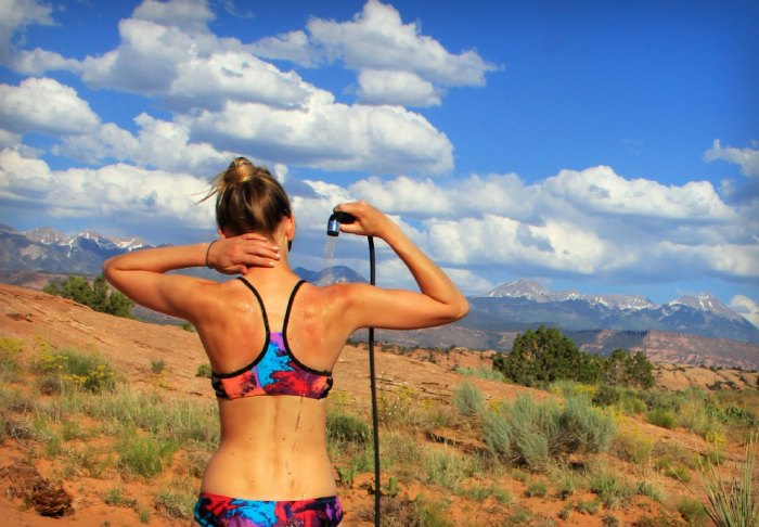 Whether you score a day pass to a health club or invest in a solar shower, nothing feels better than getting fresh outdoors. Photo: Brandon Scherzberg
