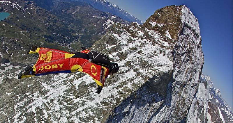 An example of a wingsuit flier, in this case, Joby Ogwyn does a fly-by of the Matterhorn. Photo: Discovery Channel
