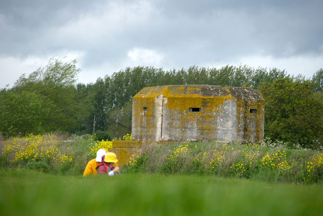 """Paddling past a pillbox on the River Thames, part of Churchill's """"Stopline Red."""""""