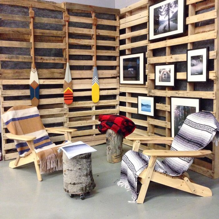 Recycled pallets at the Abitibi & Co. factory.