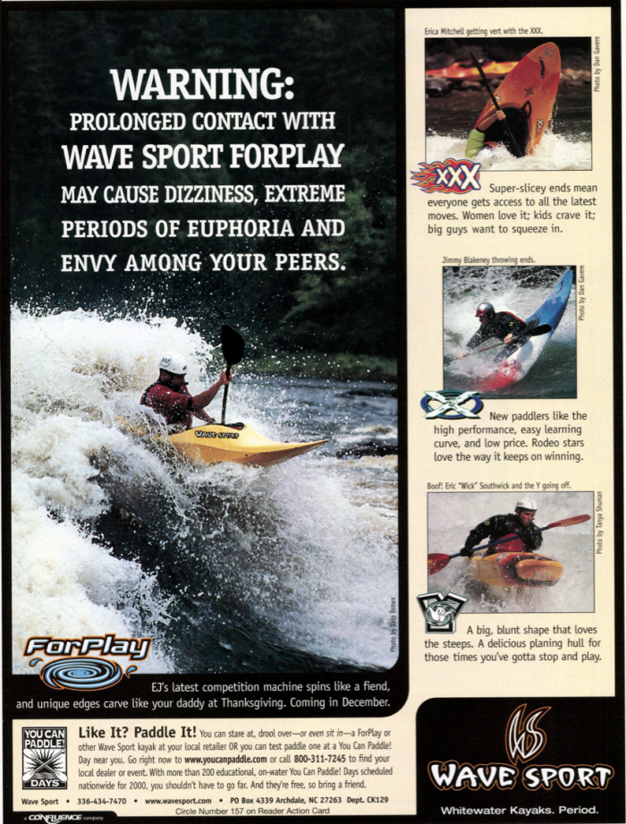 Ad from C&K's December 1999 issue, showcasing classic Wave Sport models like the XXX, X and Y.