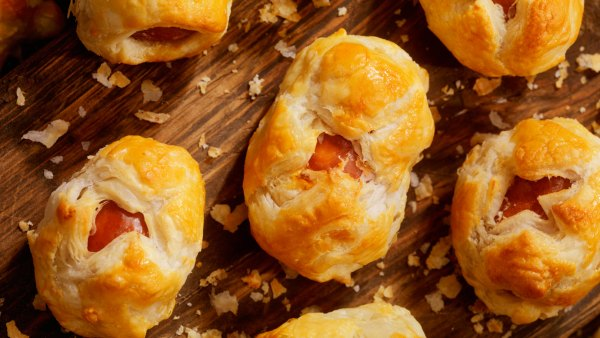 Hot dogs wrapped in puff pastry