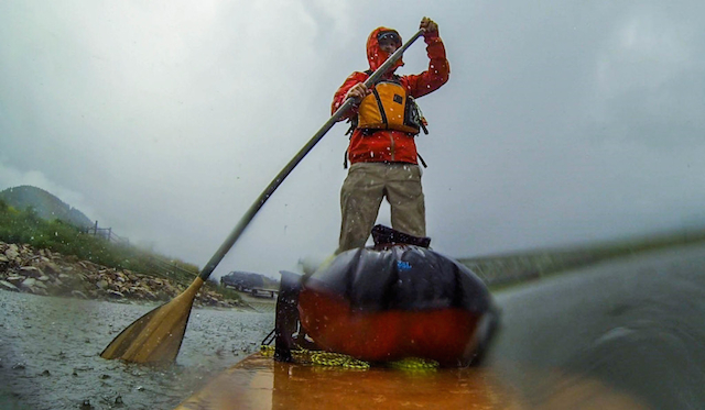 It's an Outdoor Sport: Mestrezet paddling through a storm. Courtesy photo.
