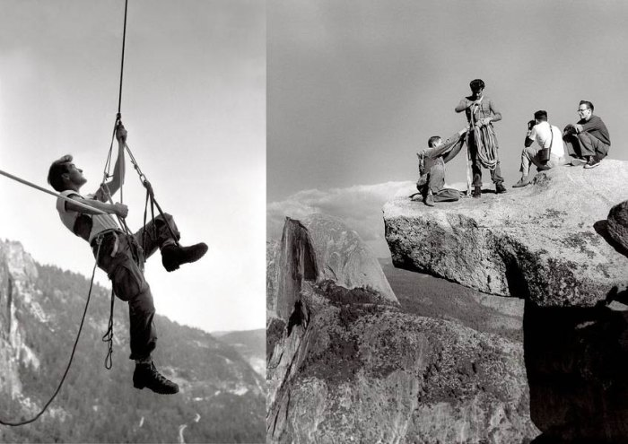 (Left) Warren Harding (circa 1961) on Leaning Tower. Four years later, Harding's rival, Royal Robbins, made the second ascent in a historic solo effort. Photo: George Whitmore. (Right) Overhanging Rock, Glacier, Point, a favorite locale for