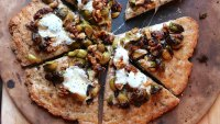 healthiest recipes: Brussels sprouts and walnut pizza with whole wheat flax crust