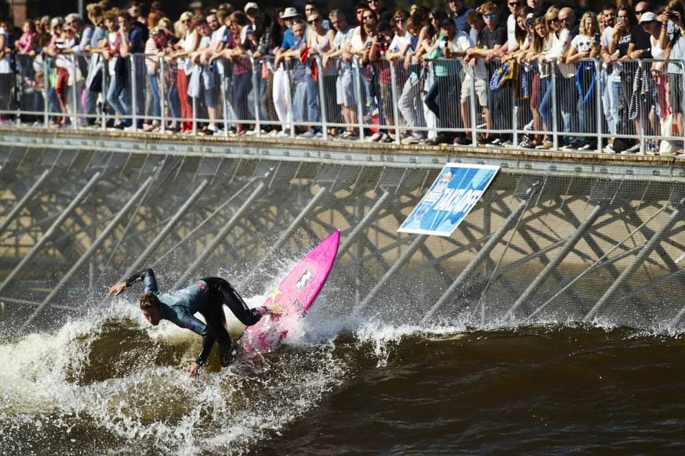 Jack Freestone rides a man-made wave in Wales. It is the predicted this technology will be used in Tokyo. Photo by Red Bull