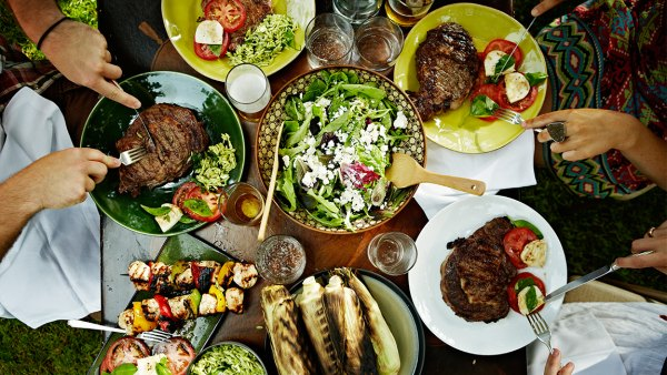 Overhead view of friends dining at table outdoors