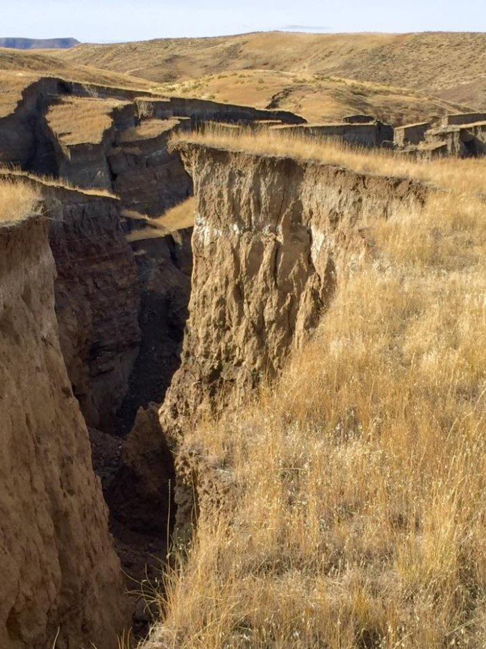 """A spring is said to have caused the """"slow-moving"""" landslide in the Bighorn Mountains."""