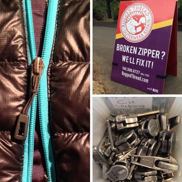 Kinney says a broken zipper is usually a quick and inexpensive fix. Photo: Courtesy Rugged Thread