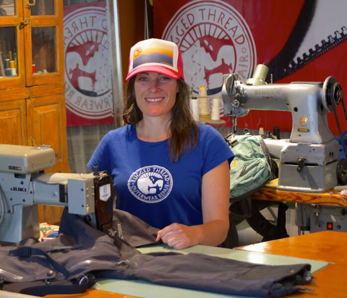 Kim Kinney learned how to repair and tailor outdoor gear after dropping out of college to ski. Photo: Courtesy Rugged Thread.