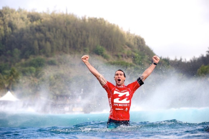 Joel Parkinson seconds after claiming the world title in 2013. Photo by Pat Stacey