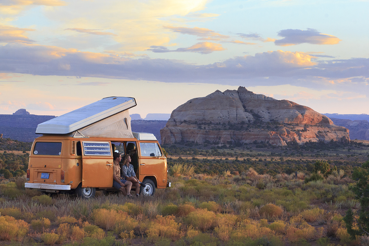 Campbell and Goldfarb have been living in Sunshine, their VW bus, for three years. Photo: Idle Theory Bus
