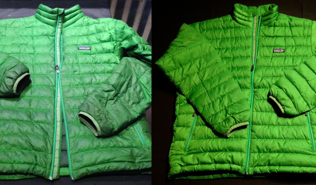 A dirty down jacket (left) can't function as well as a clean one. Photo: Courtesy Rugged Thread.