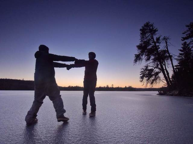 Dancing on the ice on Vera once it was finally thick enough.