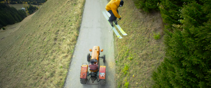 Candide Thovex skiing without snow