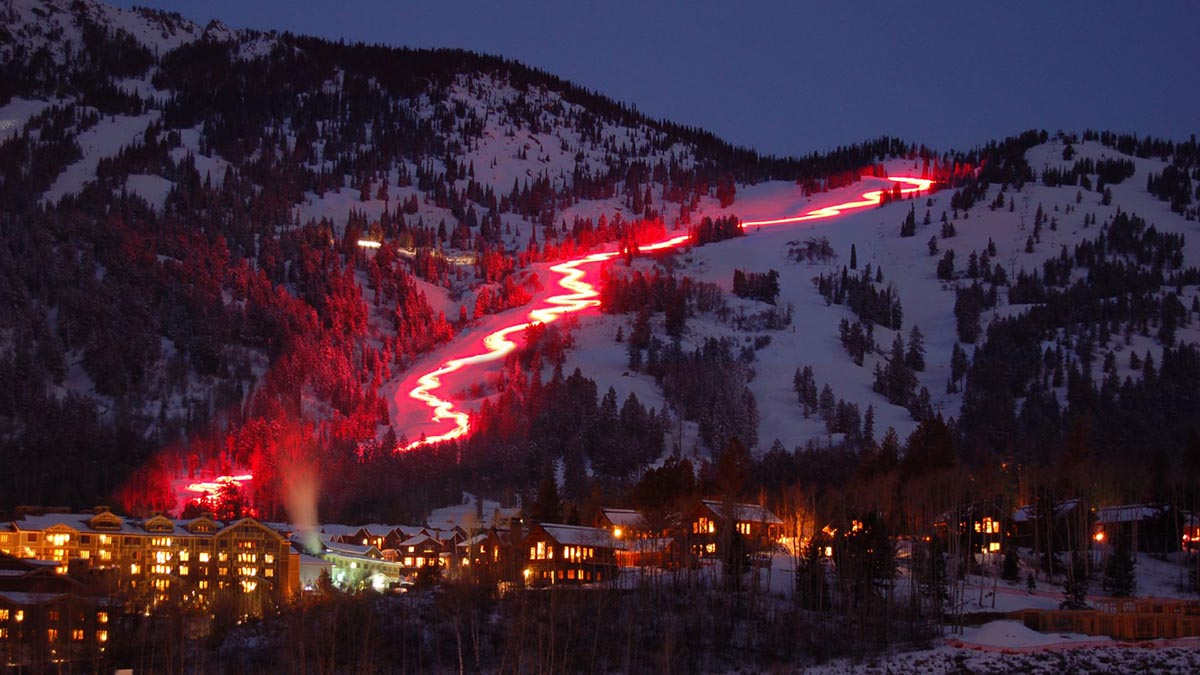 Light it up on the mountain during the day and then catch the lights over it later. Photo: Courtesy Jackson Hole Mountain Resort