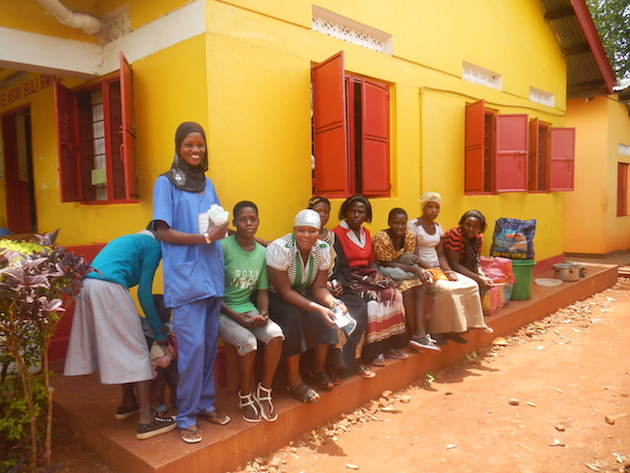 Nurse Sumaya with women who have signed up for tubal ligations or long term implants at collaborative Marie Stopes Day.