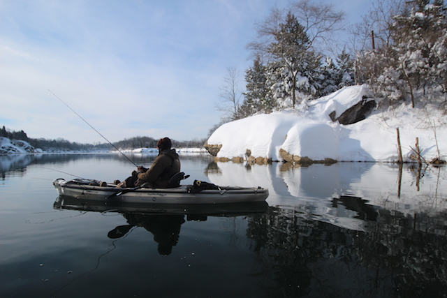Winter kayak fishing offers beauty and few crowds, yet you must be prepared to handle the cold and a possible dunking. Photo Jeff Little