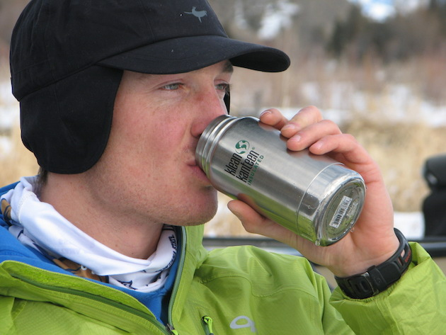 Thermal Waterproof Cap by Sealskinz and a Klean Kanteen insulated bottle.