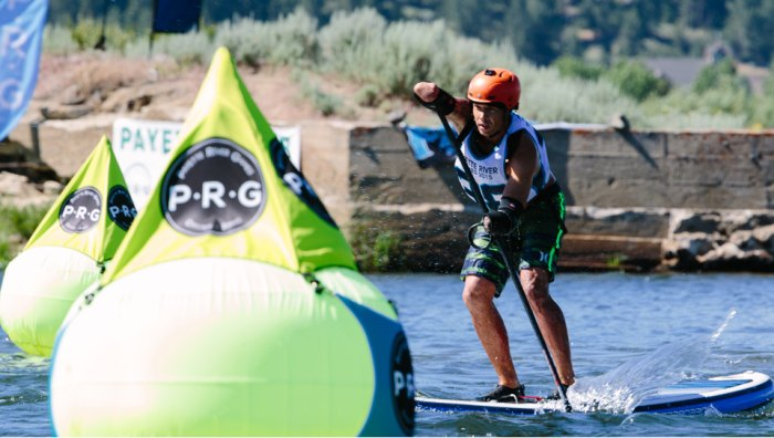 Jonas on his way to not only a win at Payette River Games, but a new career as a SUP racer. Photo: Greg Panas