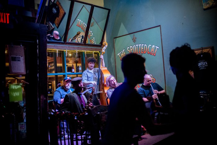 Shotgun Jazz Band performs at the popular jazz club, the Spotted Cat, on Frenchmen Street the day of Fats Domino's death in New Orleans on October 25, 2017.