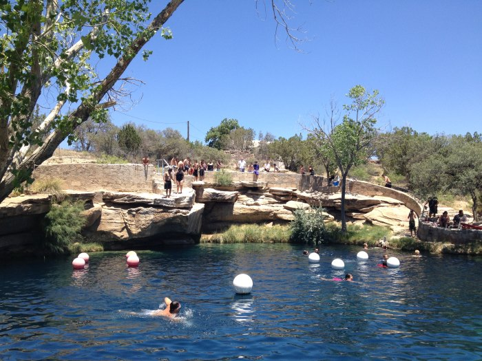 The Blue Hole is a popular swimming and diving destination featuring clear blue water