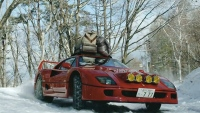 Ferrari F40 goes driving in the snow to go snow camping