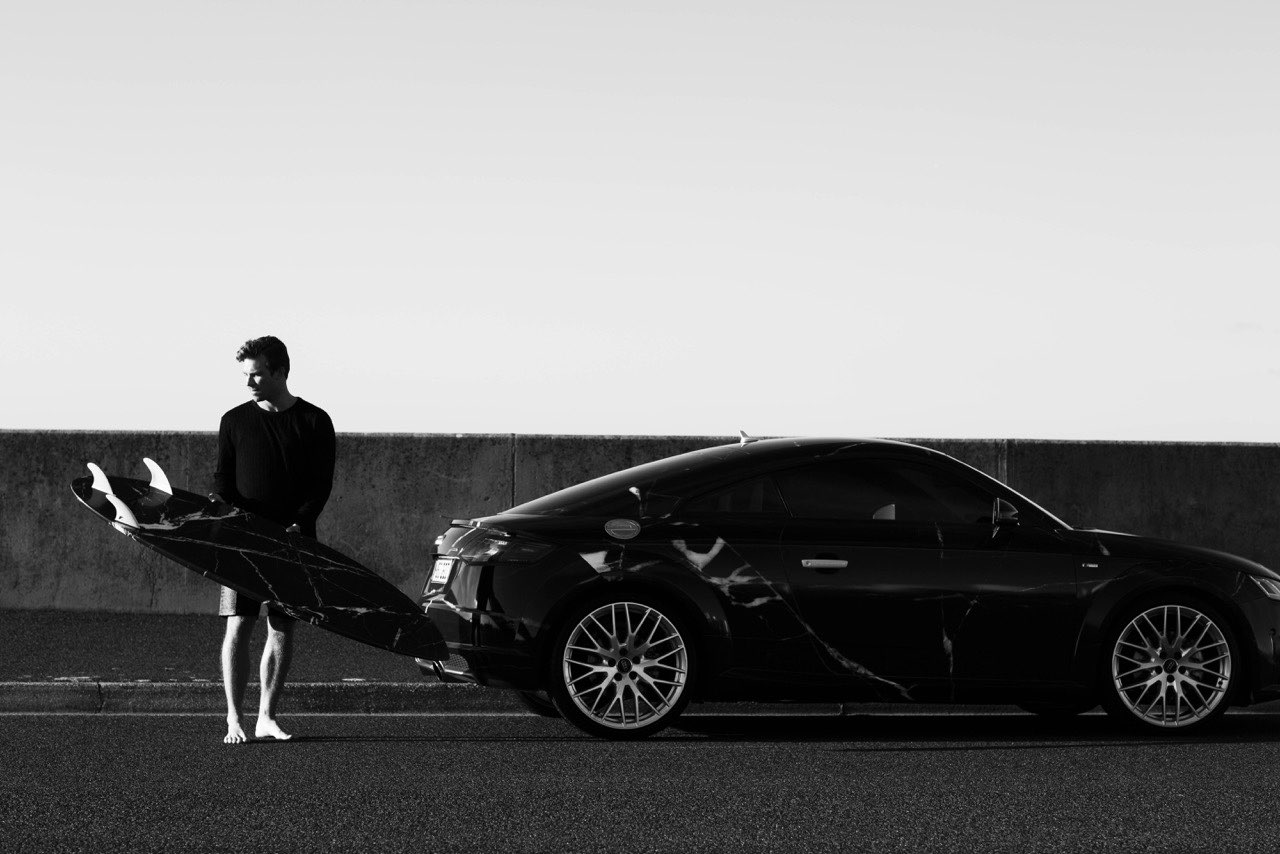 Cox and a recent collaboration with Audi. Photo Haydenshapes
