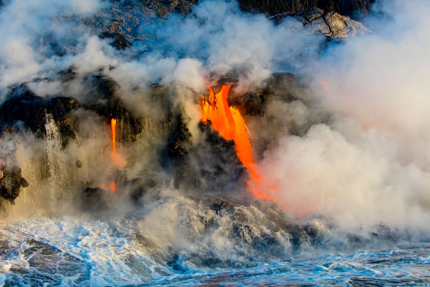 Lava from Kilauea Volcano flowing into ocean