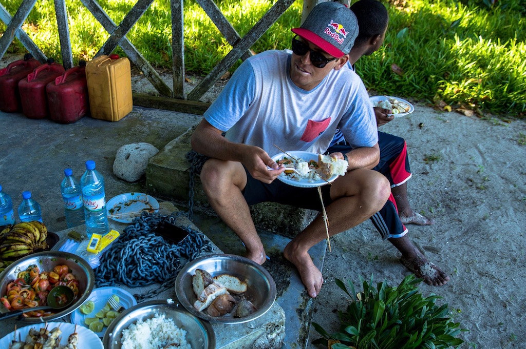 Slade Prestwich enjoys some fresh food on Madagascar on March 26th, 2015 // Alan Van Gysen/Red Bull Content Pool // P-20150708-00063 // Usage for editorial use only // Please go to www.redbullcontentpool.com for further information. //