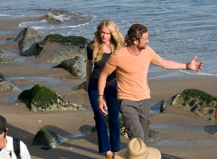 Gerard Butler with costar, Leven Rambin on the set of Chasing Mavericks. Photo: Courtesy of Ed Grant