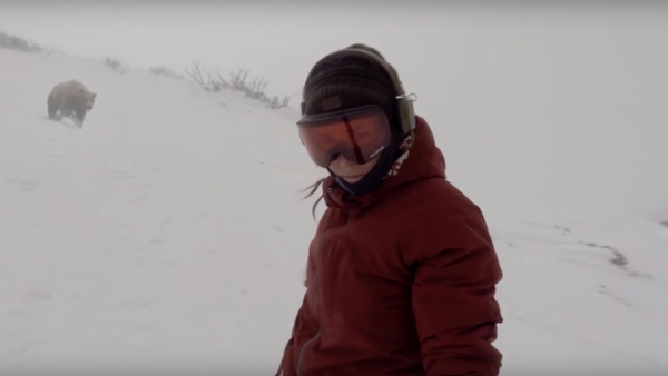 Snowboarder chased by bear in video