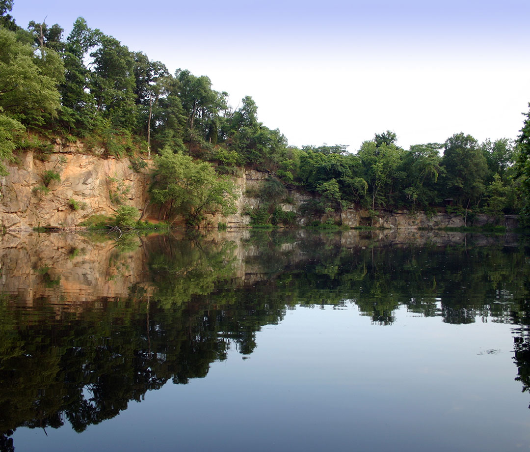 A filled-in quarry lake on Belle Isle in Richmond