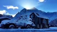 Snowboarder Mike Basich's tiny mobile home