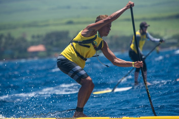 Kai Lenny finished seventh overall in relatively casual form at yesterday's SUP race. After spending the past week perfecting his skills on his remarkable new downwind hydrofoil prototype, it was clear Kai had other endeavors on his mind. Photo: Aaron Black-Schmidt