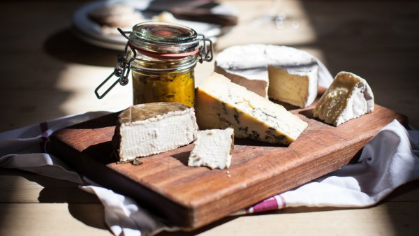 Cheese on a cheese board