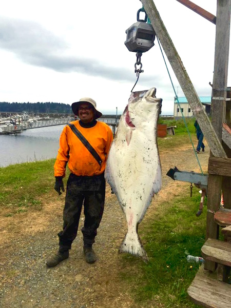 Leo Vergara's halibut weighed in at 124 pounds and bested the existing kayak record in the Lower 48 by 39 pounds!