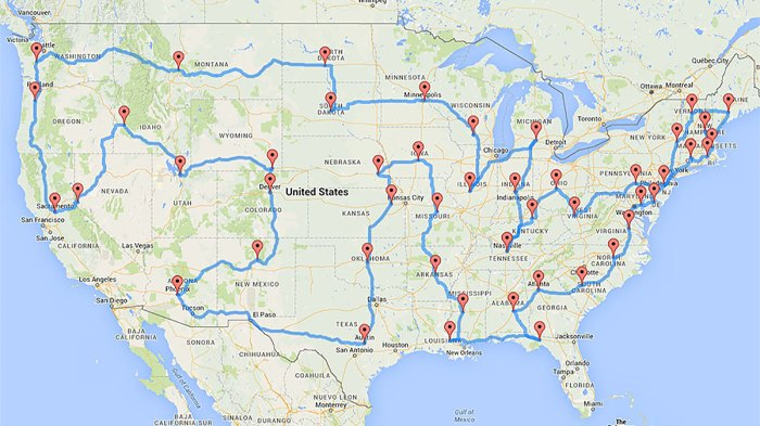 The most efficient U.S. capitol road trip ever conceived. Photo: Courtesy of Randal Olson